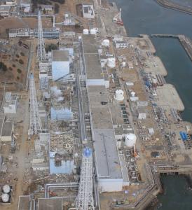 Arial view of units 1-4 Fukushima Dai-ichi March 30, 2011